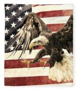 Vintage Flag With Eagle Fleece Blanket