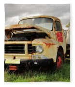 Vintage Flatbed Milk Truck Portrait Fleece Blanket