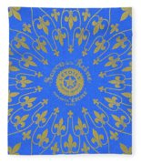 Vintage Fleur De Lis Pattern Design Fleece Blanket