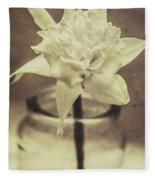 Vintage Floral Still Life Of A Pure White Bloom Fleece Blanket