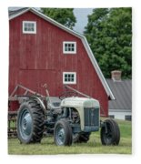Vintage Ford Farm Tractor With Red Barn Fleece Blanket