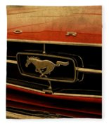 Vintage Ford Mustang Hood Fleece Blanket