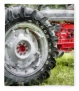 Vintage Ford Tractor Watercolor Fleece Blanket