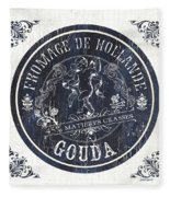 Vintage French Cheese Label 1 Fleece Blanket