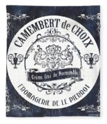 Vintage French Cheese Label 3 Fleece Blanket