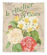 Vintage French Flower Shop 1 Fleece Blanket