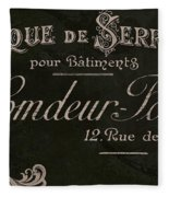 Vintage French Typography Sign Fleece Blanket