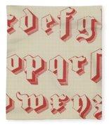 Vintage Gothic Font Red Fleece Blanket