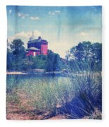 Vintage Great Lakes Lighthouse Fleece Blanket