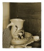 Vintage Grooming Set And Stoneware Water Pitcher In Sepia Tones Fleece Blanket