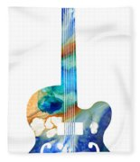 Vintage Guitar - Colorful Abstract Musical Instrument Fleece Blanket
