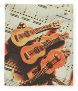 Vintage Guitars On Music Sheet Fleece Blanket