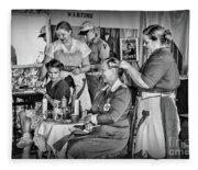 Vintage Hair Dresser Fleece Blanket