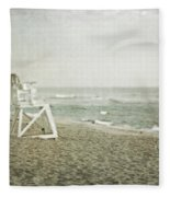 Vintage Inspired Beach With Lifeguard Chair Fleece Blanket