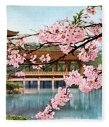 Vintage Japanese Art 12 Fleece Blanket