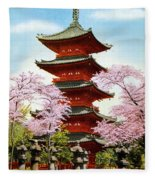 Vintage Japanese Art 21 Fleece Blanket