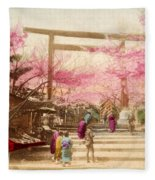 Vintage Japanese Art 25 Fleece Blanket