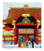 Vintage Japanese Art 5 Fleece Blanket