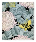 Vintage Japanese Illustration Of A Hydrangea Blossoms And Butterflies Fleece Blanket