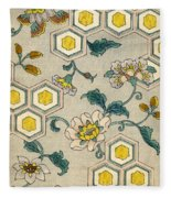 Vintage Japanese Illustration Of Blossoms On A Honeycomb Background Fleece Blanket