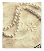 Vintage Lace And Pearls Fleece Blanket