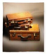 Vintage Leather Suitcases Fleece Blanket