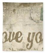 Vintage Love Letters Fleece Blanket