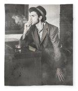 Vintage Man In Hat Smoking Cigarette In Jazz Club Fleece Blanket