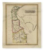 Antique Map Of Delaware Fleece Blanket