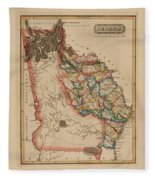Antique Map Of Georgia Fleece Blanket
