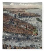 Vintage Map Of New York And Brooklyn Circa 1875 Fleece Blanket