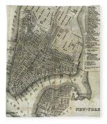 Vintage Map Of New York City - 1842 Fleece Blanket