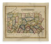 Antique Map Of Pennsylvania Fleece Blanket