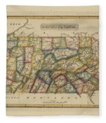 Antique Map Of Pennsylvania Fleece Blanket