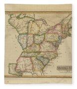 Antique Map Of United States Fleece Blanket