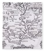 Vintage Map Of Virginia Fleece Blanket