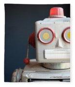Vintage Mechanical Robot Toy Fleece Blanket