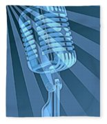 Vintage Microphone Pop Art Fleece Blanket