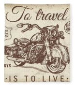 Vintage Motorcycling Mancave-a Fleece Blanket