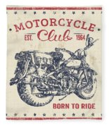 Vintage Motorcycling Mancave-b Fleece Blanket