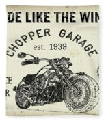 Vintage Motorcycling Mancave-d Fleece Blanket