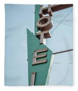 Vintage Neon Sign Hotel Livingston Montana Fleece Blanket