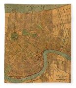 Vintage New Orleans Louisiana Street Map 1919 Retro Cartography Print On Worn Canvas Fleece Blanket
