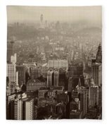 Vintage New York City Panorama Fleece Blanket