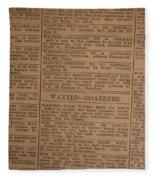 Vintage Old Classified Newspaper Ads Fleece Blanket