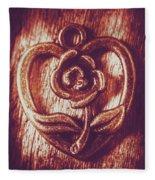 Vintage Ornamental Rose Fleece Blanket