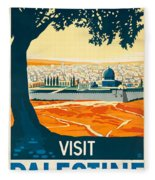 Vintage Palestine Travel Poster Fleece Blanket