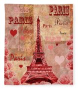 Vintage Paris And Roses Fleece Blanket