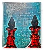 Vintage Paris Perfume Fleece Blanket