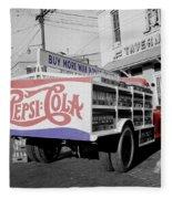 Vintage Pepsi Truck Fleece Blanket